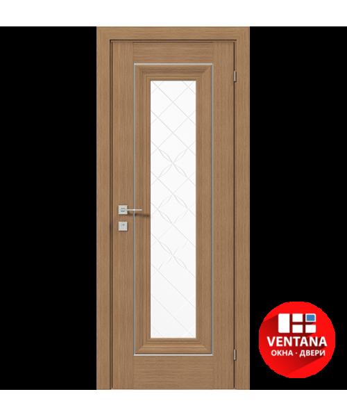 Межкомнатная дверь RODOS VERSAL Patrizia basic molding, со стеклом, с гравировкой 1