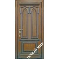 Дверь входная бронированная Новый мир (Каховка) с деревянной облицовкой Готика
