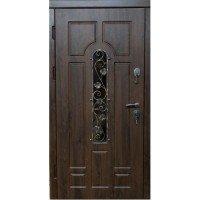 Дверь входная бронированная VERY DVERI Арка с ковкой дуб бронзовый улица (серия «ВИП+)