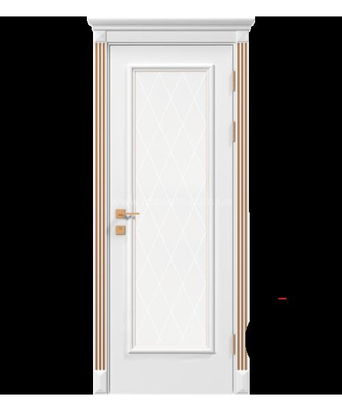 Межкомнатная дверь RODOS Siena Asti со стеклом рис.3, белый мат,патина