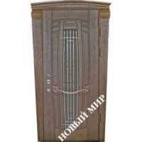Дверь входная бронированная Новый мир (Каховка) с деревянной облицовкой Арфа