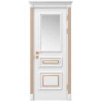 Межкомнатная дверь RODOS Siena Rossi со стеклом, белый мат,патина
