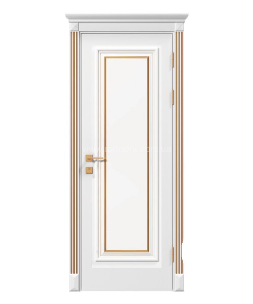 Межкомнатная дверь RODOS Siena Asti со стеклом, белый мат,патина