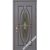 Дверь входная бронированная Новый мир (Каховка) с деревянной облицовкой Зеркало