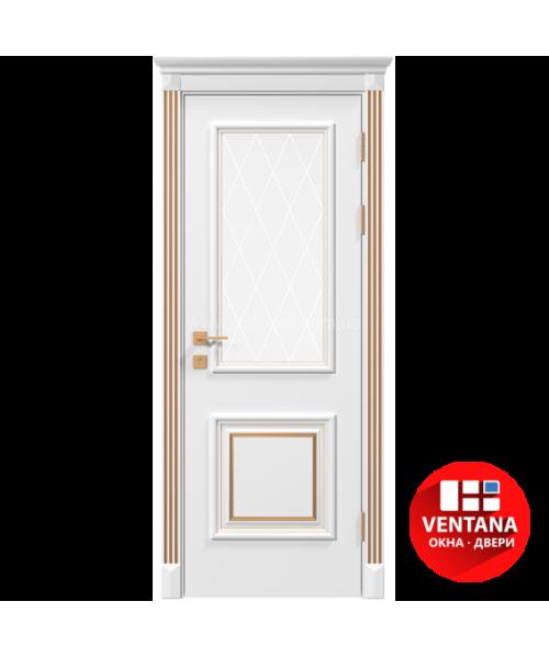 Межкомнатная дверь RODOS Siena Laura со стеклом рис.3, белый мат,патина