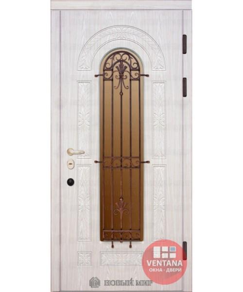 Дверь входная бронированная Новый мир (Каховка) Флоренция с резьбой, с/п и решеткой