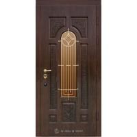 Дверь входная бронированная Новый мир (Каховка) Русь с резьбой, с/п и решеткой