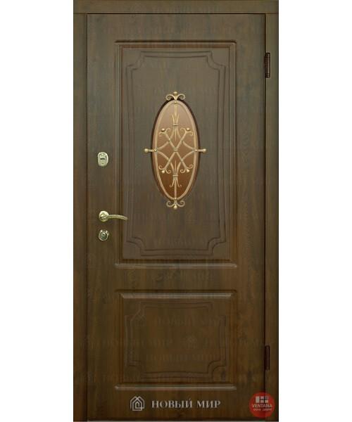 Дверь входная бронированная Новый мир (Каховка) Генуя с накладными элементамис/п и решеткой